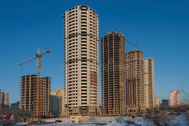 New real estate construction site stock photo