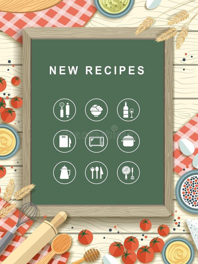 New recipes written on chalkboard in flat design vector illustration