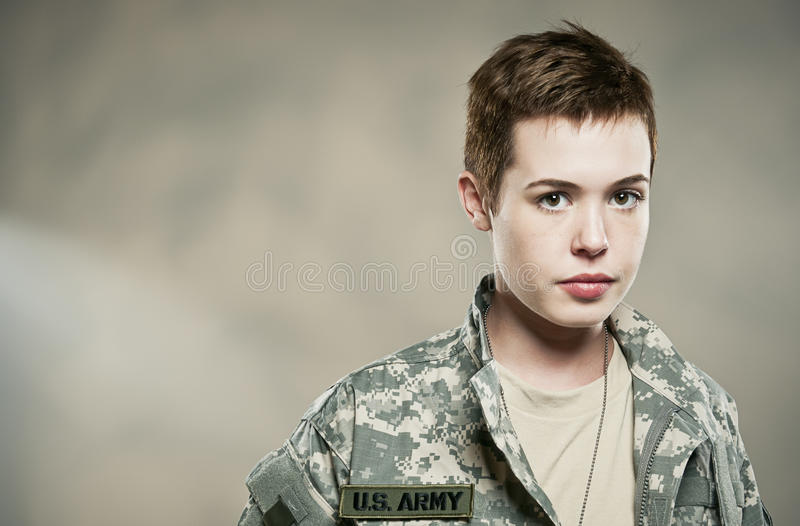 New Recruit With Attitude. A female US army soldier royalty free stock photo