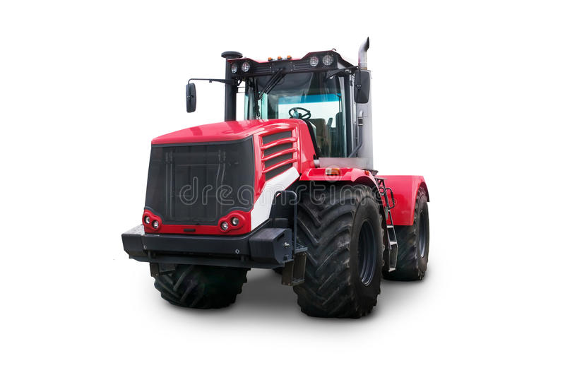 New red agricultural tractor isolated on white background stock photography