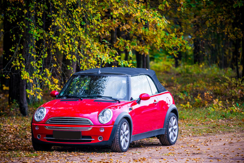 New red car Mini cooper in nature. Mini cooper red car in fall nature front view stock photography