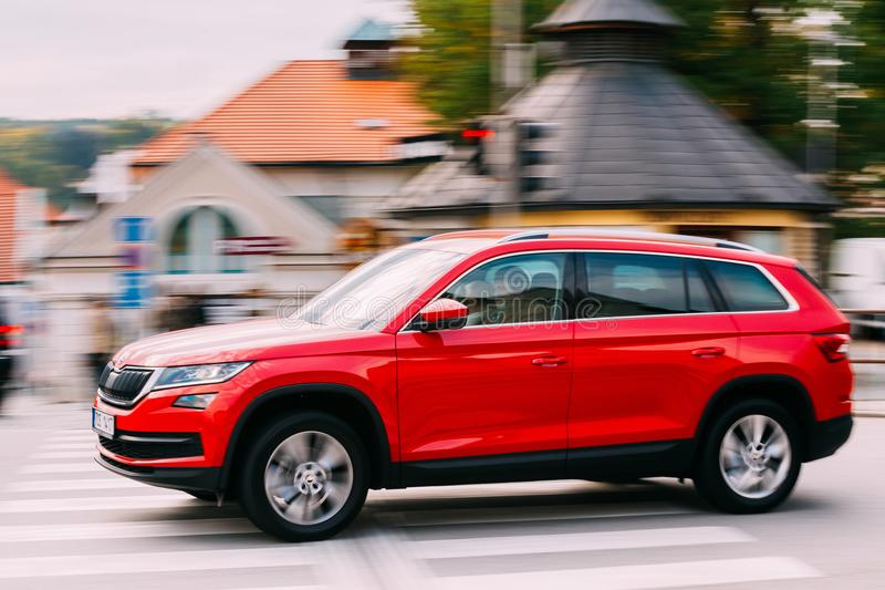 New Red Color Skoda Kodiaq In Motion On Street royalty free stock image