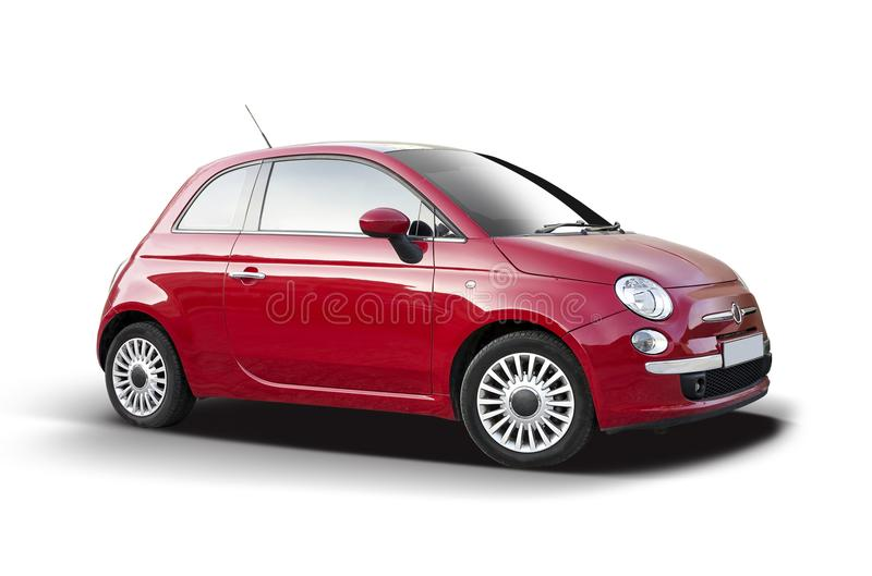 New red Fiat 500. Side view isolated on white background stock image