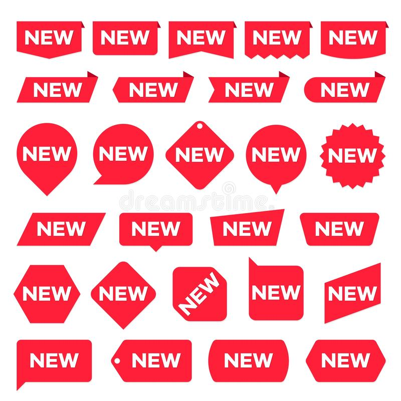 Free New Red Labels. Modern Accent, New Shop Promotion Stickers. Vector Set Royalty Free Stock Images - 138960959