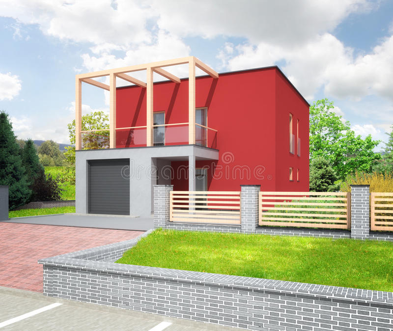 Download New Red Modern House Stock Illustration. Illustration Of  Architectural   31213065