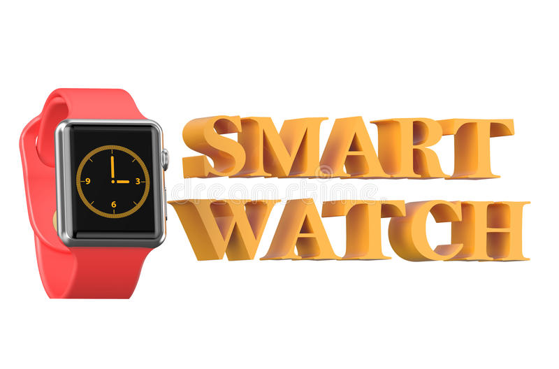 New red smartwatch vector illustration