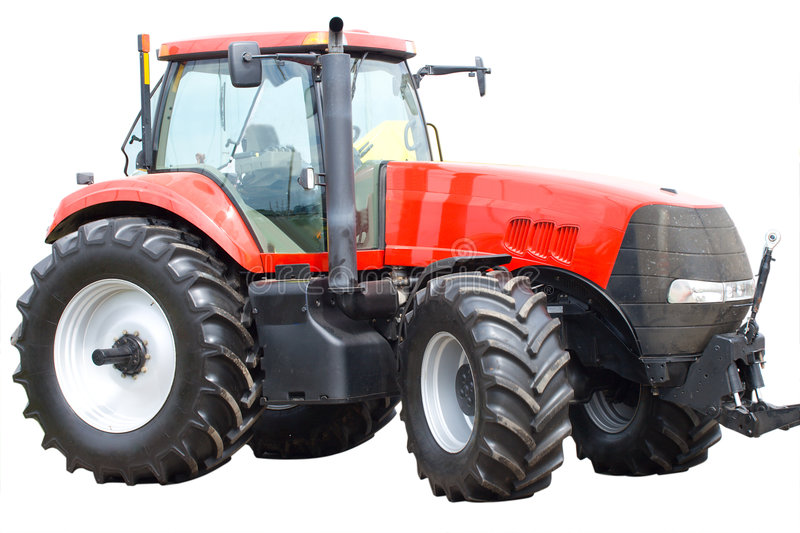 New red tractor isolated royalty free stock photo