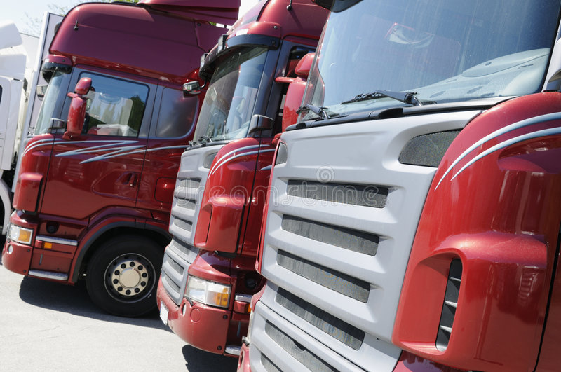 Download New red truck convoy stock photo. Image of deadline, delivery - 5496568