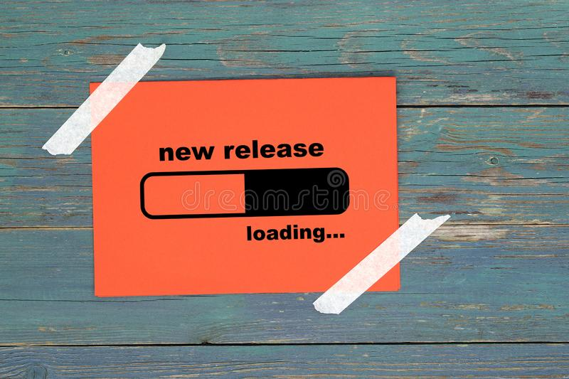 New release loading on paper royalty free illustration