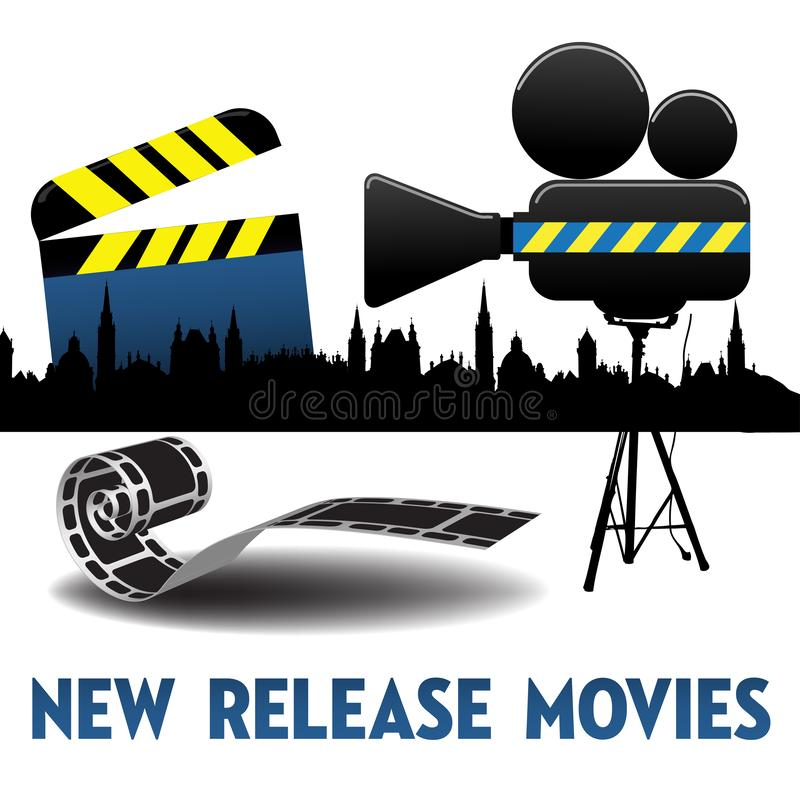 New release movie. Colorful illustration with film projector, clapboard, film reel and the text new release movies written with capital letters royalty free illustration