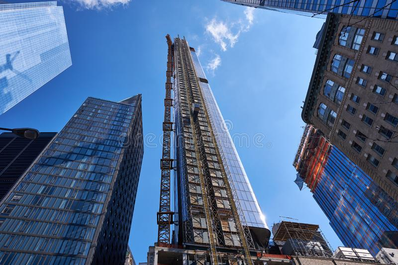 Construction of 125 Greenwich Street NYC -3. A new residential condominium skyscraper is constructed in lower Manhattan near the World Trade Center complex royalty free stock image