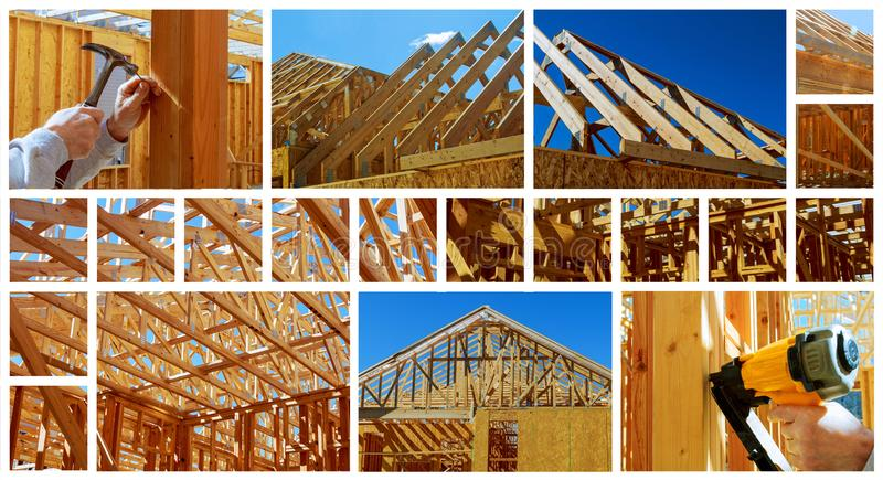New residential construction home framing with roof view photo collage. New residential construction home framing with roof view construction home framing photo royalty free stock photography