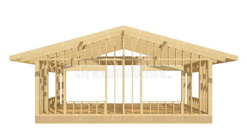 New residential construction home wood framing. royalty free illustration