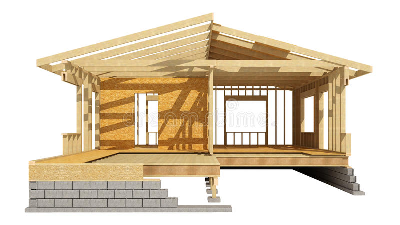 New Residential Construction Home Wood Framing. Stock Illustration ...