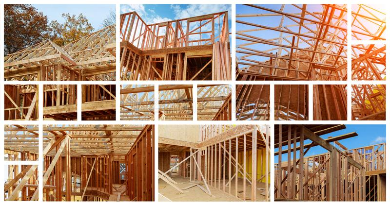 New residential construction house framing against a blue sky. The concept of service for dating photo collage. New residential construction house wood building stock photo