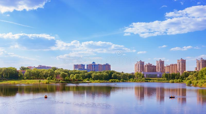 New Residential District By The Lake On A Summer Day stock image