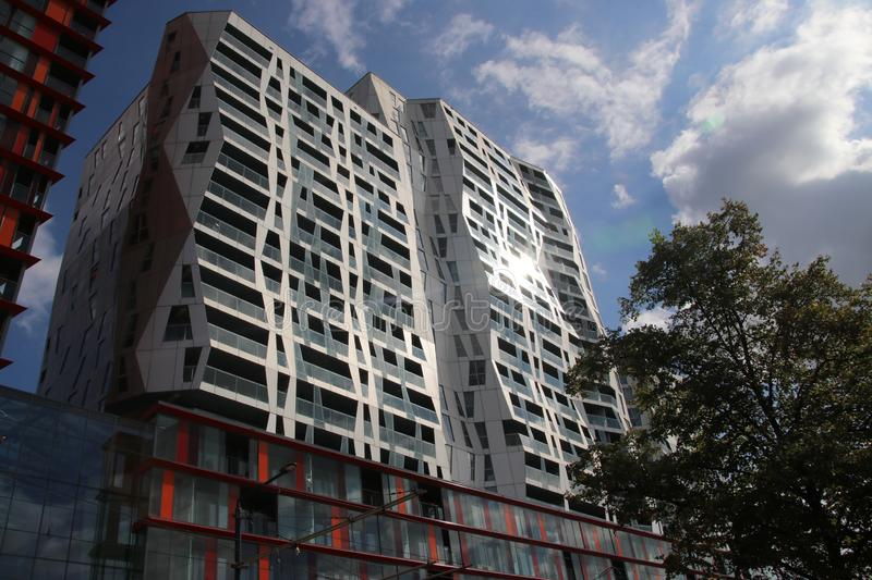 New residential houses and offices in Skyscraper on the Mauritsweg at Rotterdam the Netherlands. stock image