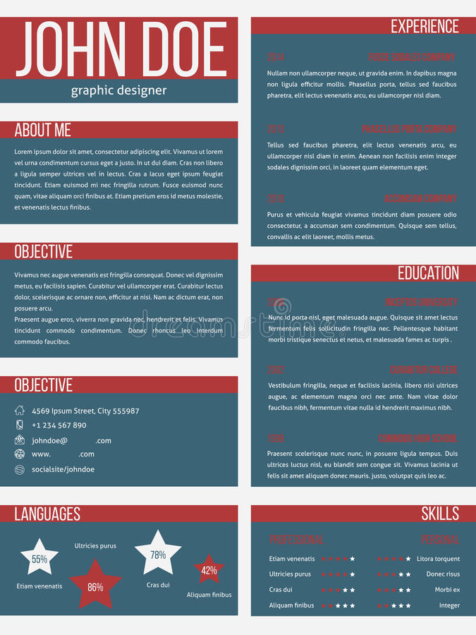 new resume cv template with separate categories stock