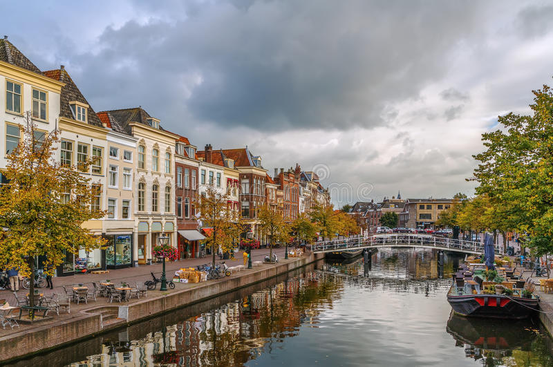 New Rhine river in Leiden, Netherlands. View of New Rhine river in Leiden downtown, Netherlands stock photo