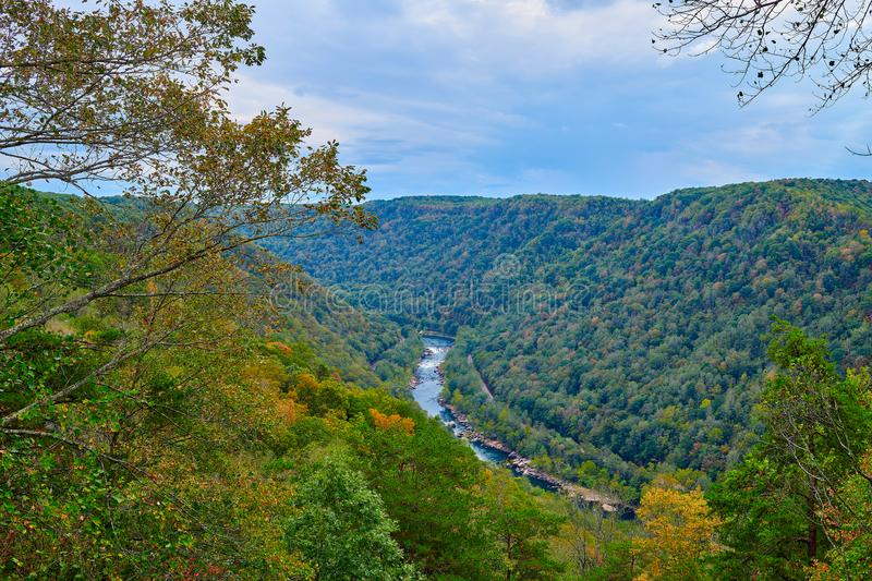 New River as veiwed from overlook at New River Gorge National Park, WV.  royalty free stock images