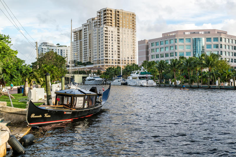 New River in downtown Fort Lauderdale, Florida. New River with boats and apartment blocks in downtown Fort Lauderdale, Florida, USA stock photo