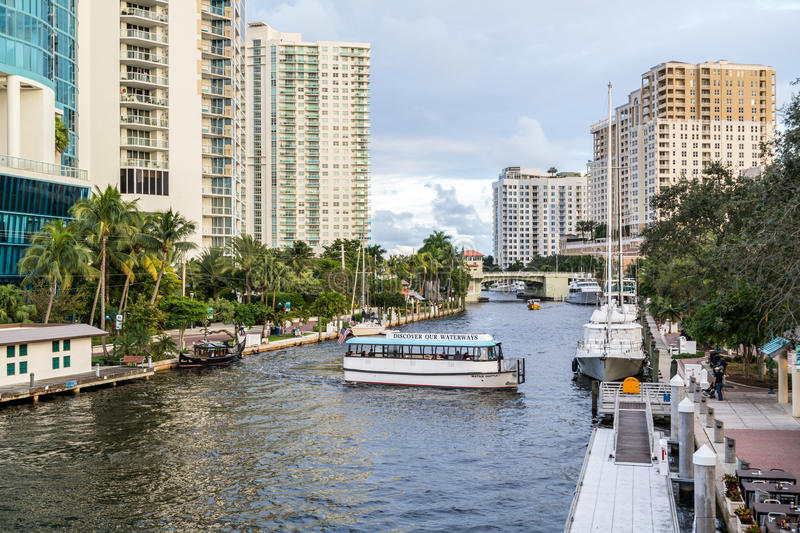 New River in downtown Fort Lauderdale, Florida. Water taxi cruising on New River in downtown Fort Lauderdale, Florida, USA stock photo