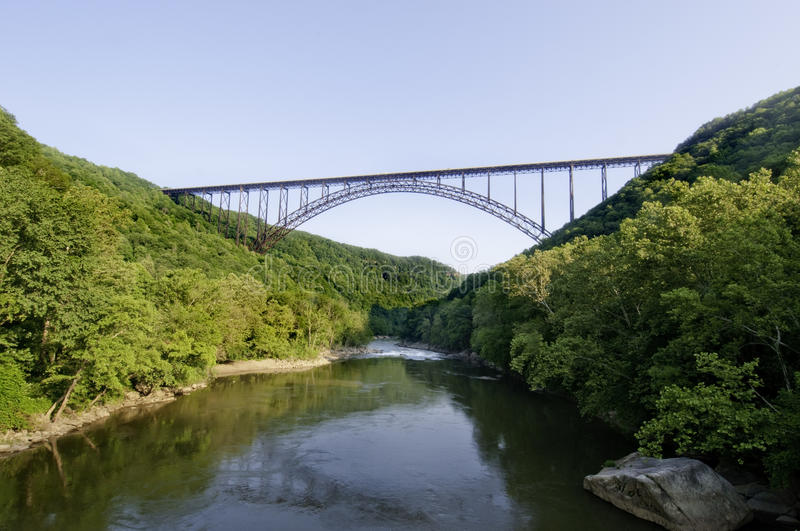 New River Gorge Bridge. Beautiful view of the New River Gorge Bridge in West Virginia. The largest Steel-Arch bridge in the Western Hemisphere royalty free stock image