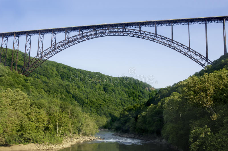 New River Gorge Bridge. Beautiful view of the New River Gorge Bridge in West Virginia. The largest Steel-Arch bridge in the Western Hemisphere stock image