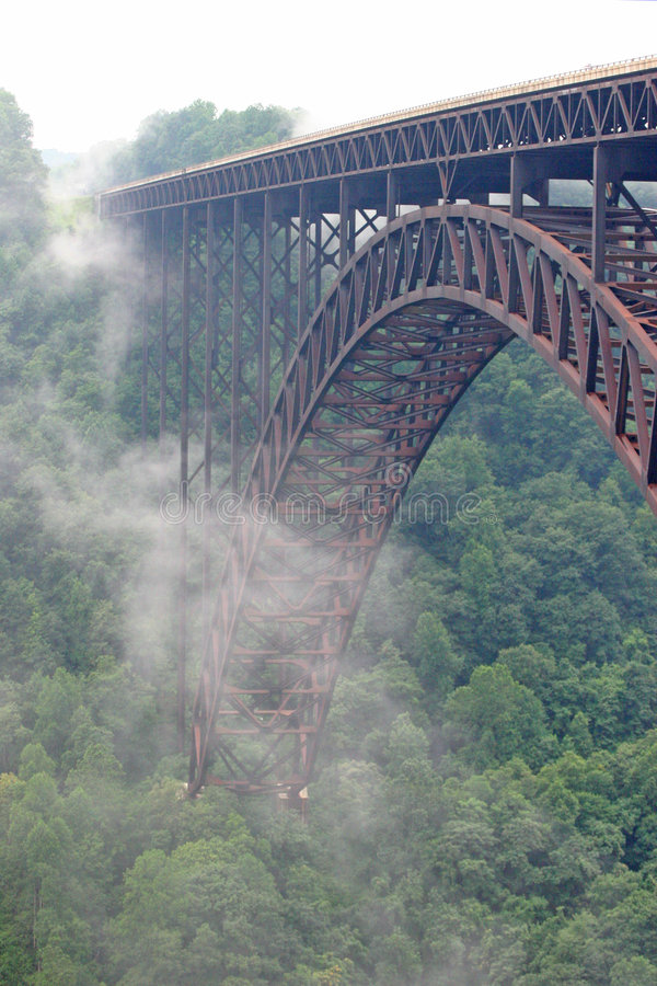 New River Gorge bridge. In morning fog stock image