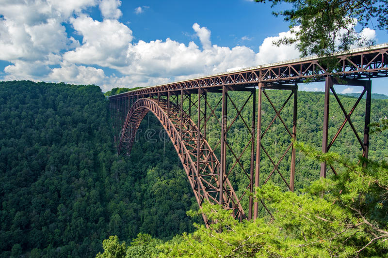 New River Gorge Bridge. The New River Gorge Bridge is the longest steel spanning bridge in the western hemisphere and the third highest in the United States royalty free stock images