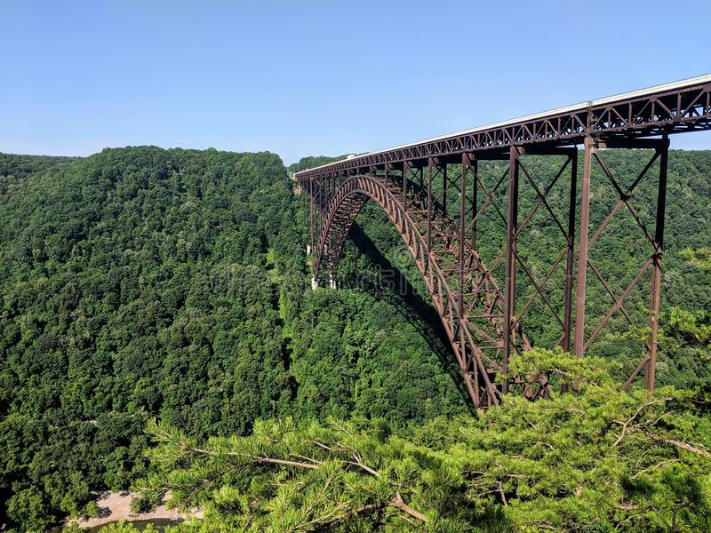 New River Gorge Bridge. National, park, scenic, landscape, sky, grass, green, blue, metal, arch, highway, motorway, rust, industry, industrial, west, virginia stock images