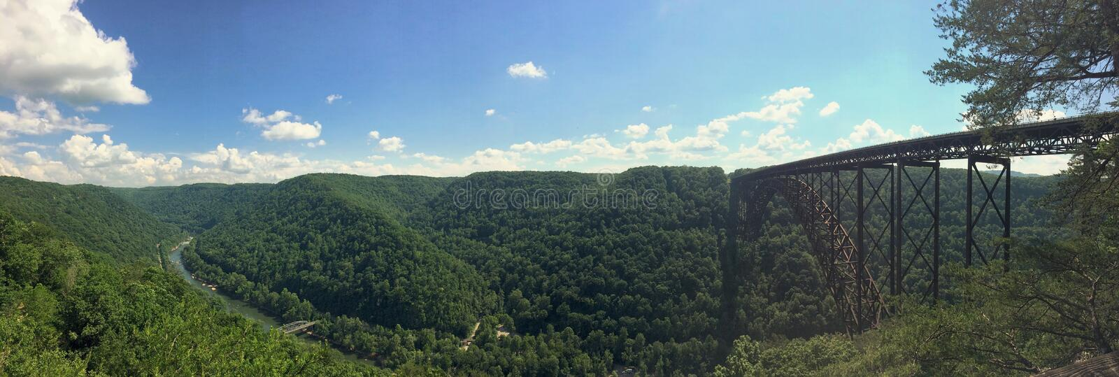New River Gorge and Bridge. Panoramic photo of the New River Gorge and Bridge near Fayetteville West Virginia stock image