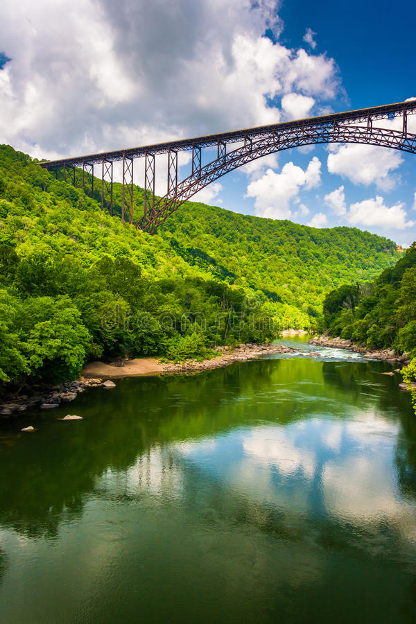 The New River Gorge Bridge, seen from Fayette Station Road, at t. He New River Gorge National River, West Virginia royalty free stock images