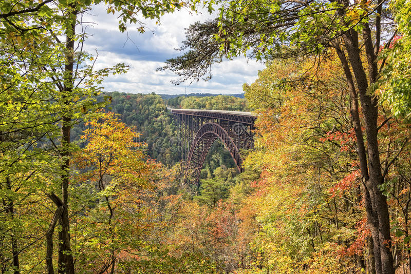 The New River Gorge Bridge In West Virginia. The New River Gorge Bridge In Autumn, seen from the Canyon Rim Visitor Center Overlook, West Virginia royalty free stock images