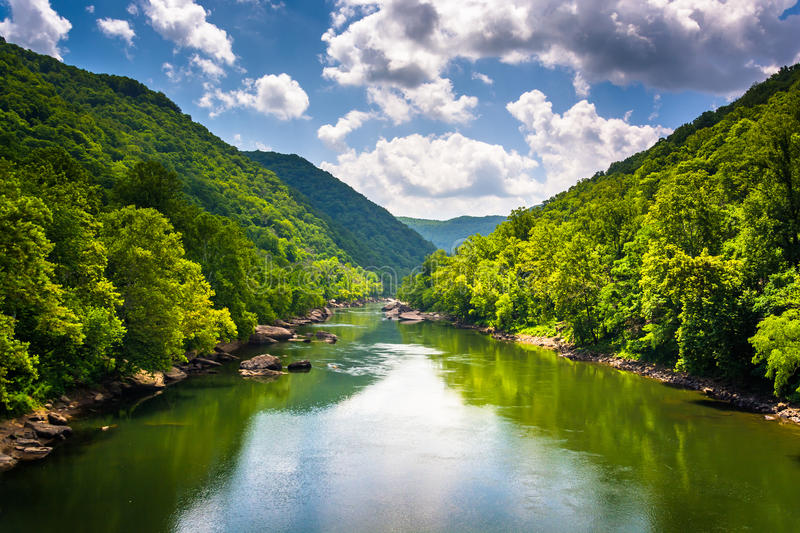 The New River, seen from Fayette Station Road, at the New River. Gorge National River, West Virginia stock photography