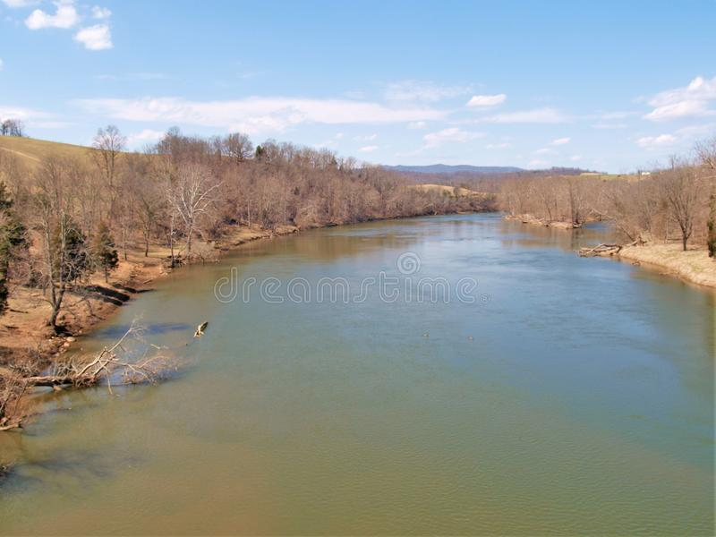 View from Trestle on the New River Trail. The New River Trail in southern Virginia is a rail-trail for biking, hiking and horseback riding with many trestles stock photography