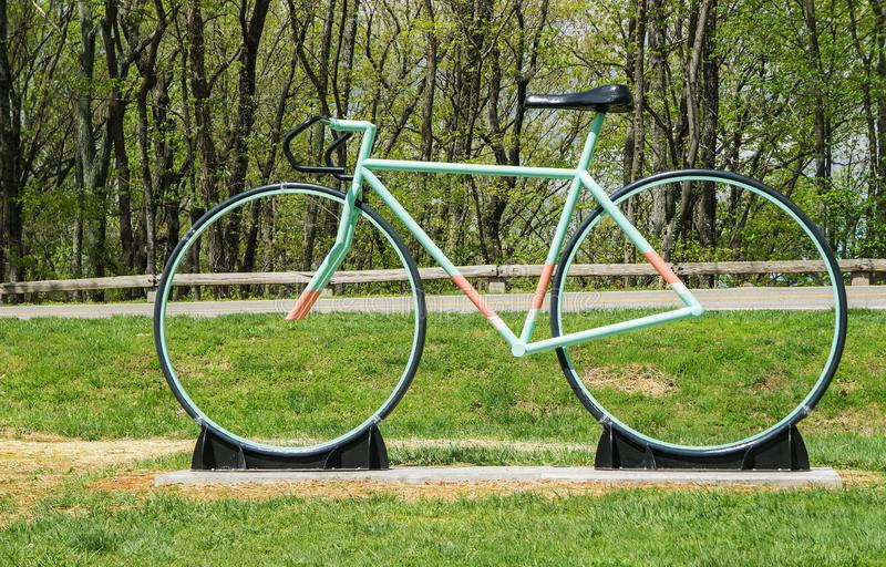 New Road Bike Sculpture on Mill Mountain stock photo