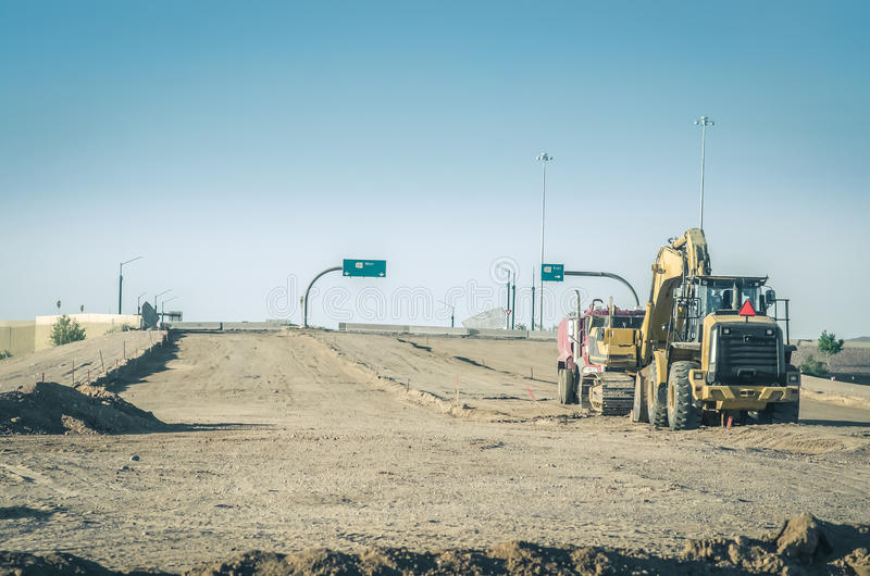 New road highway under construction. Arizona,USA royalty free stock image
