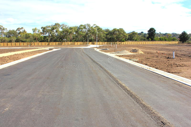 New road in realestae subdivision royalty free stock photography