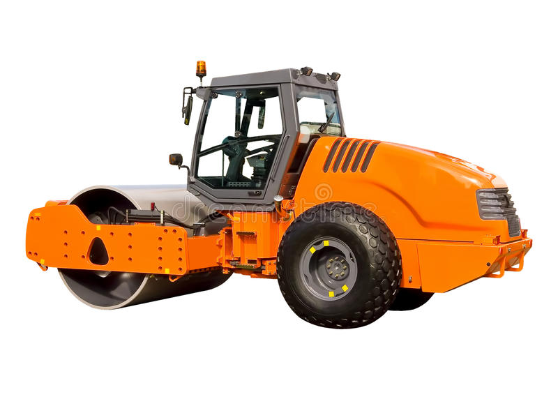 New road roller. On a white background royalty free stock photos