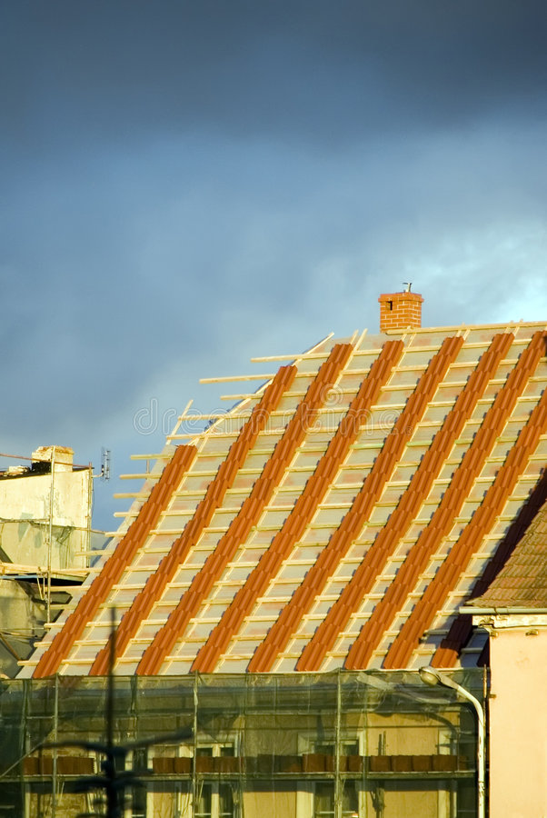 Download New roof stock image. Image of steeple, installation, steep - 3338351