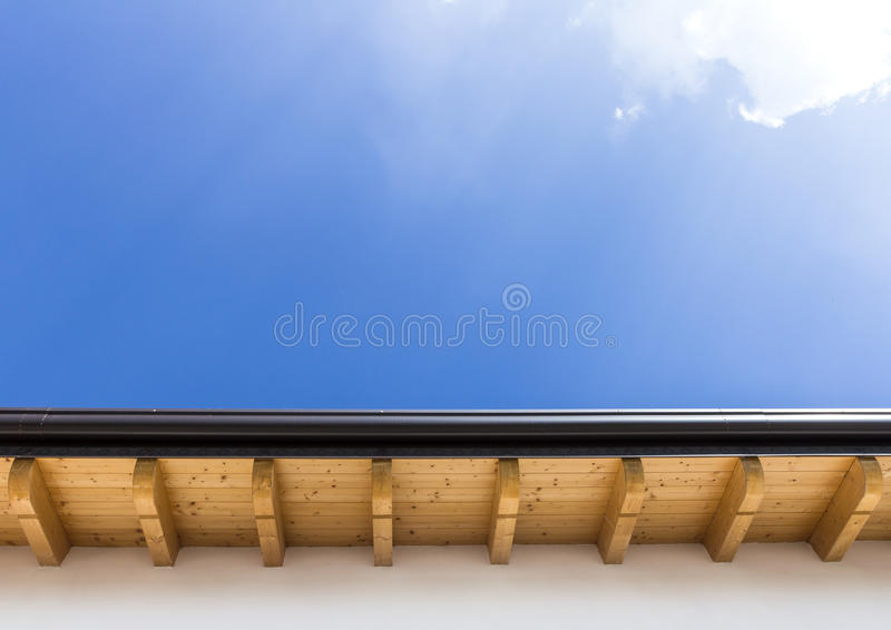 New roof with gutter stock photos