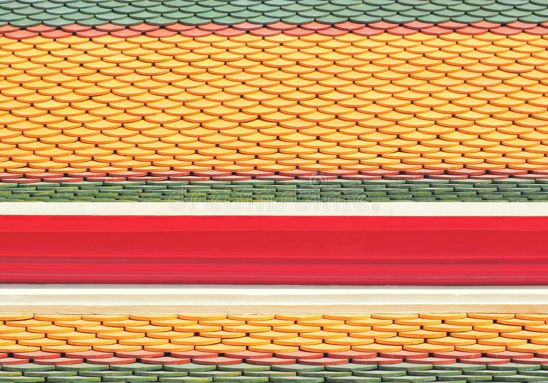 New roof tiles of Thai temple stock photography