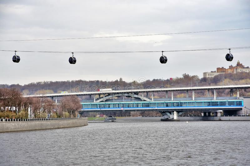 A new ropeway in Moscow which connects Luzhniki sportsa area and Vorobyovy hills. Open in 2018. Popular landmark. Color photo stock photo