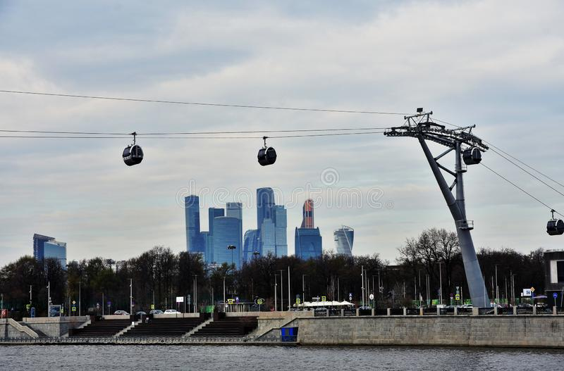 A new ropeway in Moscow which connects Luzhniki sportsa area and Vorobyovy hills. Open in 2018. Popular landmark. Color photo royalty free stock photography