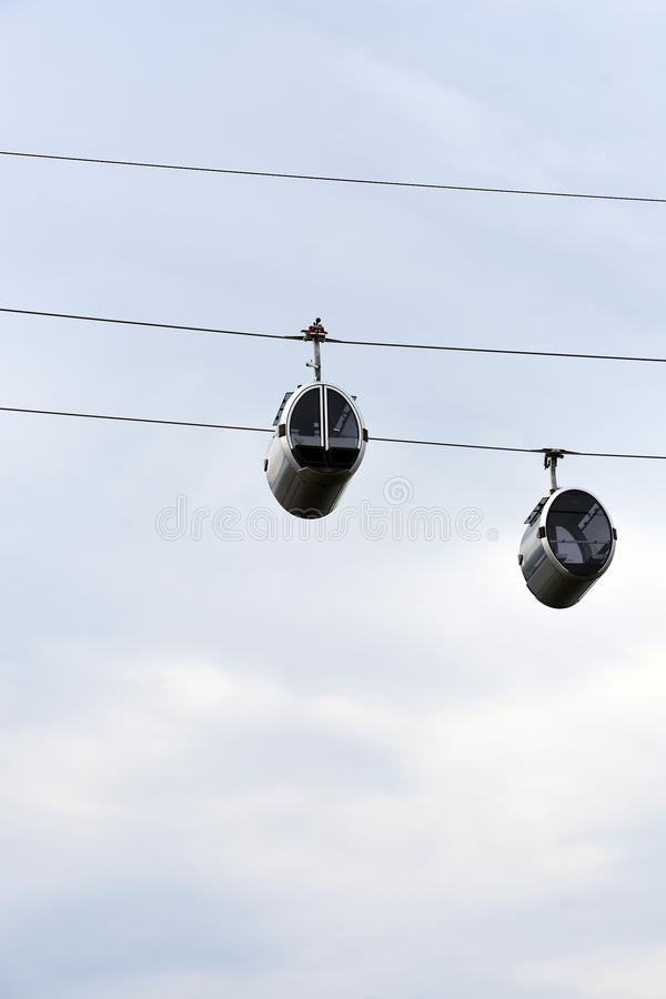A new ropeway in Moscow which connects Luzhniki sportsa area and Vorobyovy hills. Open in 2018. Popular landmark. Color photo royalty free stock photo