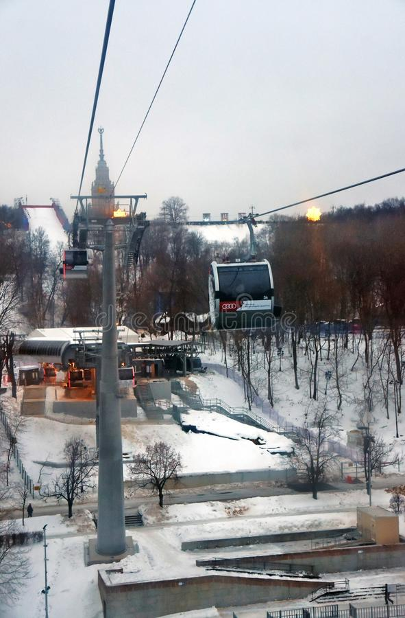 A new ropeway in Moscow which connects Luzhniki sportsa area and Vorobyovy hills. Open in 2018. Popular landmark. Color photo royalty free stock photos