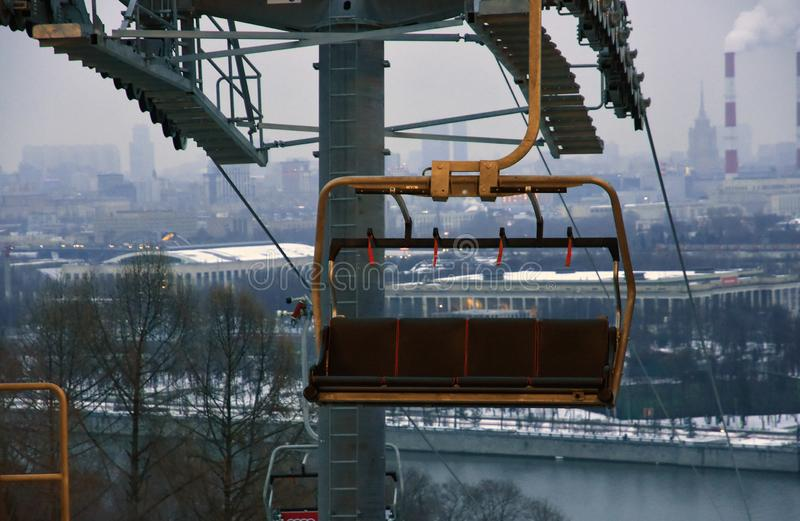 A new ropeway in Moscow which connects Luzhniki sportsa area and Vorobyovy hills. Open in 2018. Popular landmark. Color photo stock image