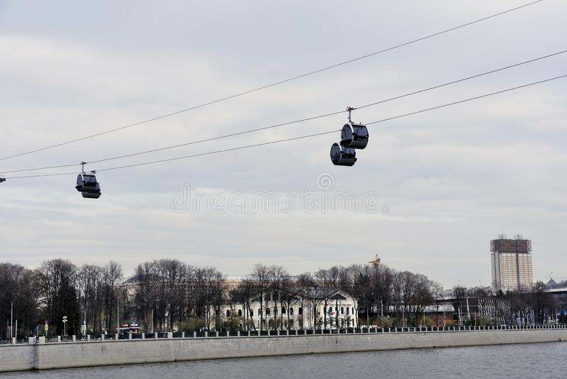 A new ropeway in Moscow which connects Luzhniki sportsa area and Vorobyovy hills. Open in 2018. Popular landmark. Color photo stock photos