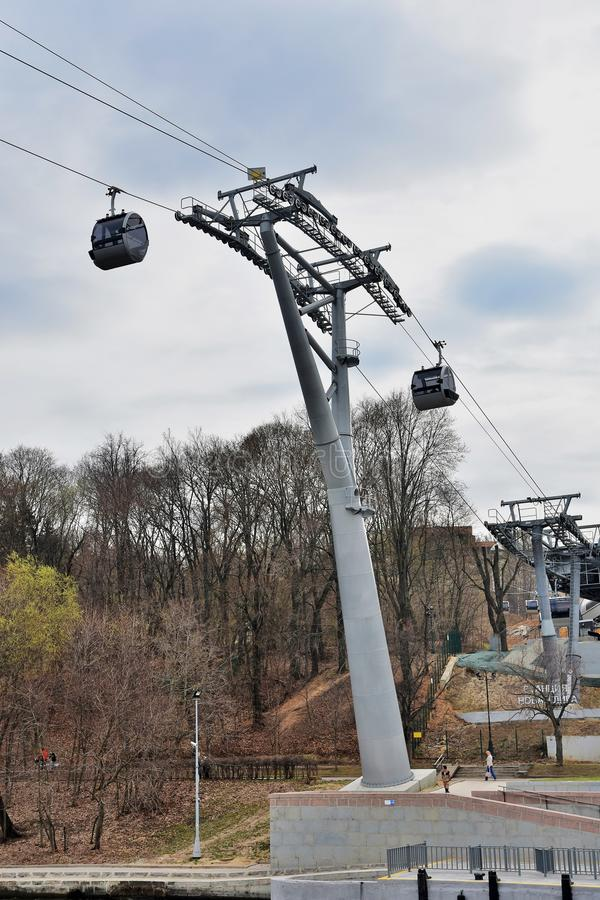 A new ropeway in Moscow which connects Luzhniki sportsa area and Vorobyovy hills. Open in 2018. Popular landmark. Color photo royalty free stock image